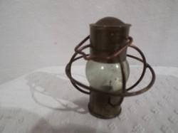 Vörösréz - miniatűr - viharlámpa - közepe tömör üveg - vastag anygból - 6 x 5 cm