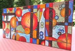 SZÍNES UNIVERZUM-ABSZTRAKT NAGYMÉRETŰ festmény