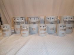 Porcelán - antik - Osztrák 8 db fűszertartó - aranyozott - hibátlan - 4 db literes - 4 db 2,5 dl