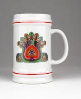 0X448 Jelzett Hollóházi porcelán söröskorsó 11 cm