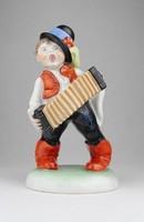 0P005 Herendi harmonikás kisfiú szobor 20 cm