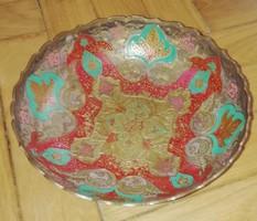 Indiai motívumos festett sárgaréz kínálótál