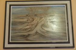 Fontos Sándor (614) Tanya télen olaj farost 60x40 cm 125.000 Ft