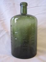 Zöld Müller testvérek tintás dombornyomott üveg palack