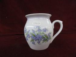 Zsolnay porcelán hassas bögre, fehér alapon kék virágmintás, belseje kopott.