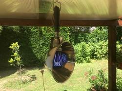 Ritka industrial stekklámpa / uv lámpa eredeti égőjével a 20-as évek bauhaus irányzatából.
