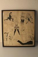 Karikatúrák Alpár Gitta és Alpár Tibor stockholmi vendégszerepléséről, grafika, festmény 1933-ból
