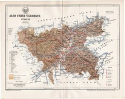 Alsó - Fehér vármegye térkép 1895 (1), lexikon melléklet, Gönczy Pál, 23 x 29 cm, megye, Posner K.