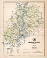 Csongrád vármegye térkép 1893 (1), lexikon melléklet, Gönczy Pál, 23 x 29 cm, megye, Posner Károly