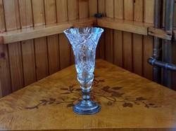 Hibátlan, szép, mutatós kristály váza, kehely alakú, ezüst talp
