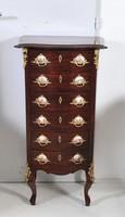 XV. Lajos stílusú mahagóni smizett porcelánbetétekkel