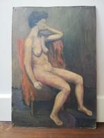 Pajor Ferenc XX.sz. magyar festő: ülő női akt olaj karton keret nélkül
