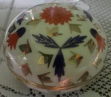 Zsolnay Pécs bonbonier, szelence, doboz, cukortartó aranyozott hibátlan díszítéssel 50-es évekből