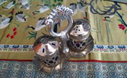 Ezüstözött fűszertartó szett kék üveg betéttel