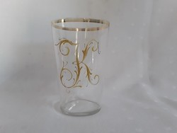Antik aranyozott fújt üveg pohár / 2508