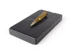 0X641 Régi fekete márvány levélnehezék lőszerrel