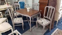 Szürke Provence étkezőasztal 4 db székkel