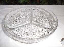 Üveg - kínáló - vastag - nehéz - nagy 19 x 4 cm - hibátlan