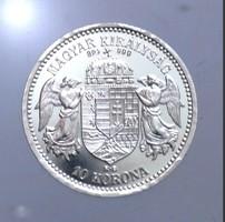 1915 Ferenc József 10 Korona Limitált ezüst ÁPV utánveret, csak 24 db-os Tanúsítvány van!