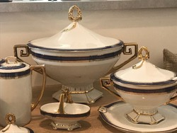 Porcelán étkészlet kobalt és arany mintával az 1900-as évek elejéről, MZ, Altrohlau