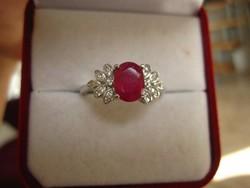 Art deco, nagyon előkelő rubin ezüst gyűrű - fehér topáz