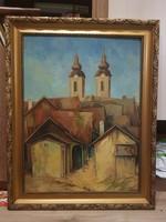 Fegyó Béla: Háztetők, olaj, fa, 60x80+gyönyörű keret, alacsony, de alkudható ár! Bp-en ingyen házhoz