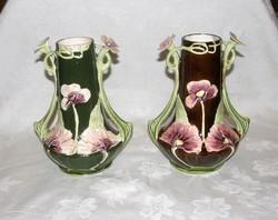 Szecessziós majolika váza pár