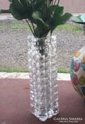 Antik, retro üveg váza, 4 szög, gyönyörű fényű 18 cm
