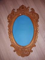 Vintage faragott fa keretes tükör florentin minta 85 cm x 52 cm