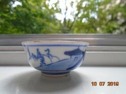 Kangxi kobaltkékkel festett tea tál ,belsejében színes dekoratív hölgy mintával