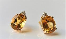 4ct Citrin 0.06ct gyémánttal 585/14kr.arany fülbevaló