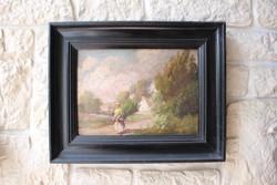 Ács Ágoston falusi életkép festmény