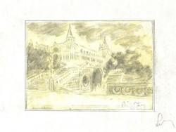 Halászbástya / Budai várban/ - Lehoczky József - ceruzarajz, papíron, sárga akvarellel átlavírozva