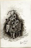 Orrszarvú, hátán íjász-harcossal - Lehoczky József - lavírozott tusrajz, papíron /26,5 x 19 cm/ :