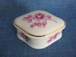 Hollóházi porcelán rózsás kis bonbonier ékszertartó