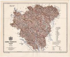 Sáros vármegye térkép 1897 (3), lexikon melléklet, Gönczy Pál, 23 x 28 cm, megye, Posner Károly