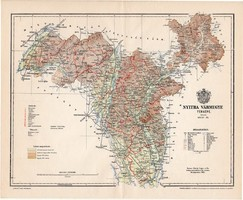 Nyitra vármegye térkép 1896 (5), lexikon melléklet, Gönczy Pál, 23 x 29 cm, megye, Posner Károly