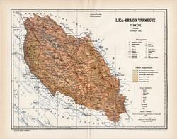 Lika - Krbava vármegye térkép 1897 (2), lexikon melléklet, Gönczy Pál, 23 x 30 cm, megye, Posner K.