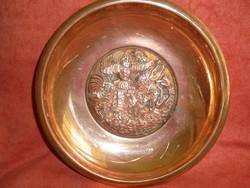 Kopcsányi Ottó vörösréz tál: Sárkányölő Szent György ábrázolás