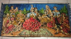 Különleges antik spanyol rojtos bársony falvédő / szőnyeg