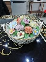 Extra ritka Herendi rózsás áttört kosár asztalközép