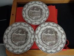 3 db pompás angol porcelán lapostányér