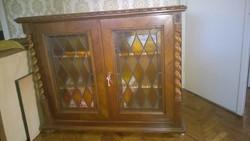 Akciós ár !Koloniál 2 ajtós kisszekrény-tálaló szekrény-polcos szekrény katedrál üveggel