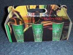 VOLÁN feliratos pohár készlet eredeti dobozában Salgótarjáni öblösüveggyár AMFORA-ÜVÉRT