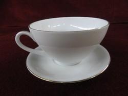 Hertel Jacob német Bavaria porcelán teáscsésze + alátét. Hófehér alapon arany szegélyes.