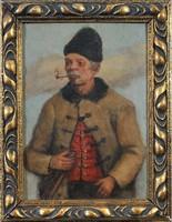 Ismeretlen festő: Pipázó öregember porté
