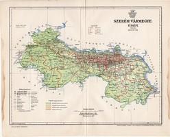 Szerém vármegye térkép 1897 (5), lexikon melléklet, Gönczy Pál, 23 x 29 cm, megye, Posner Károly