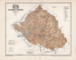 Udvarhely vármegye térkép 1897 (2), lexikon melléklet, Gönczy Pál, 23 x 30 cm, megye, Posner Károly