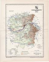 Ugocsa vármegye térkép 1897 (2), lexikon melléklet, Gönczy Pál, 23 x 29 cm, megye, Posner Károly