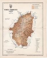 Turóc vármegye térkép 1897 (2), lexikon melléklet, Gönczy Pál, 23 x 29 cm, megye, Posner Károly